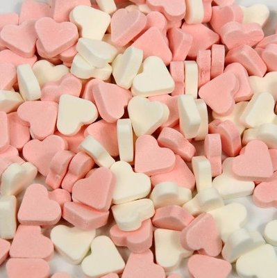 Mini vruchten hartjes roze-wit