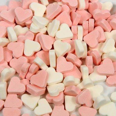 Mini pepermunt hartjes roze-wit