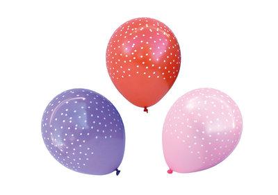 Roze, rode en paarse ballonnen met witte stippen 12 stuks