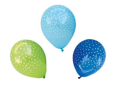 Blauwe en groene ballonnen met witte stippen 12 stuks