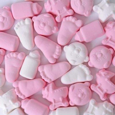 Geboorte schuimpjes roze wit
