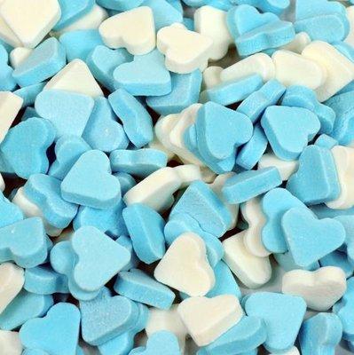 Mini pepermunt hartjes blauw-wit