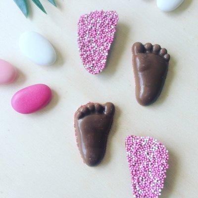 Chocolade voetjes klein roze musket 500 gram