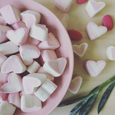 Hartjes spekjes roze met wit 1 kilo