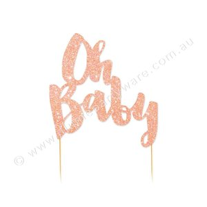 Illume cake topper oh baby rose goud
