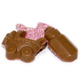 Chocolade wiegje en melkfles roze musket