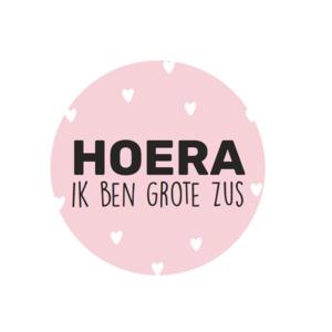 Stickers hoera ik ben grote zus roze/zwart