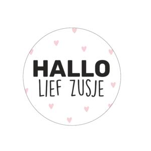 Stickers hallo lief zusje roze/zwart