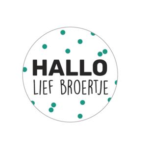 Stickers hallo lief broertje groen/zwart