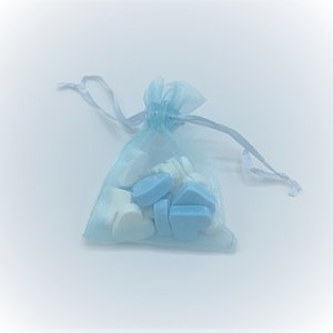 Uitdeelzakje vruchtenhartjes blauw/wit