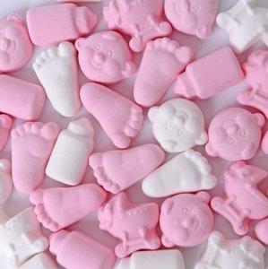geboorte schuimpjes roze en wit