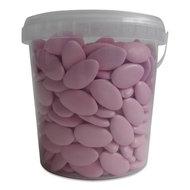 chocolade dragees, doopsuiker, roze